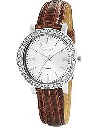 Excellanc 195622600013 - Reloj de pulsera mujer, varios materiales, color marrón