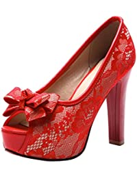 Coolulu Damen Blockabsatz High Heels Plateau Slip on Schuhe mit Schleife  11cm Absatz 733608b05b
