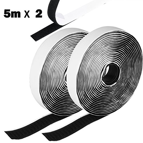 Price comparison product image Hook and Loop Tape,  Etmury Self Adhesive Sticky Tape,  Heavy Duty Hook Loop Tape Reusable Double Sided Sticky Tape Roll -Black(5M)