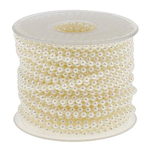 MagiDeal 20 Meter Perlenband Perlenkette Perlengirlande Perlenschnur Weihnachten Advent Hochzeit Deko Tischdeko - Beige, 20 Meter