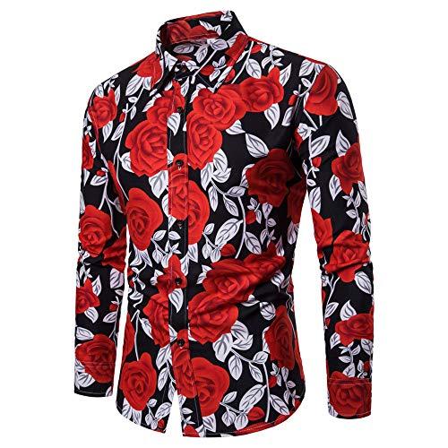 BaZhaHei, Polo de Hombre, Blusa Estampada Flor de la Moda del Hombre Tops Camisetas de Manga Larga Casual Tops para Hombre Camisas de Clásico de la Moda Manga Larga Estampada de Hombre