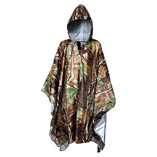 Wasserdichter Regenponcho, Vegbirt Regenjacken wasserdicht regenmantel für die Jagd Camping,Camouflage Rain poncho (Bionic camouflage)