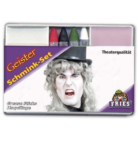 Schmink-Set 'Geist', weiße Geichtsfarbe, 4 Schminkstife und Abschminke, TheaterqualitätHalloween,...