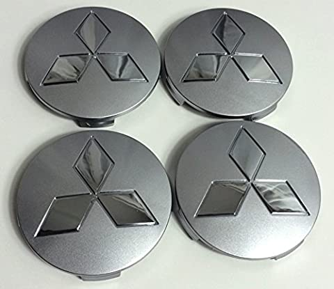Set of 4 Wheel Centre Hub Caps MITSUBISHI Grey Chrome Logo 80mm BADGE COVER Shogun Pagero L200