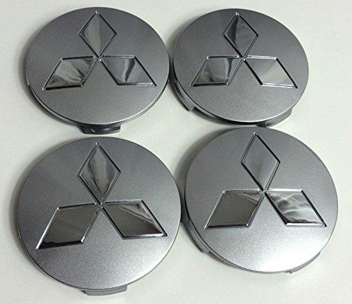 X4 Roue pleine de moyeu Capuchons Mitsubishi Gris-Logo Chromé 80 mm insigne de couverture