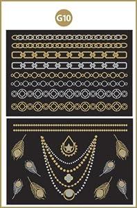 Gold Flash Tattoo Set G10 - Tatuaje Metálico Temporal en dorado y plateado de Bondi