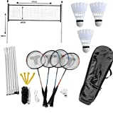 Jeu Kit de Badminton 4 Joueurs Extérieur Plein Air - avec Filet, Raquettes, Volants