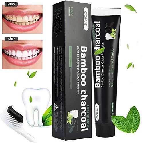 Aktivkohle Zahnpasta-Natürliche Zahnaufhellung und Zahnreinigung -Bambuskohle Schwarze Zahnpasta-Weisse Zähne-Bamboo Aktivkohle Zahncreme Weiß- Whitening Zahnpasta-Für Empfindliche Zähne - Peroxid Whitening Zahnpasta