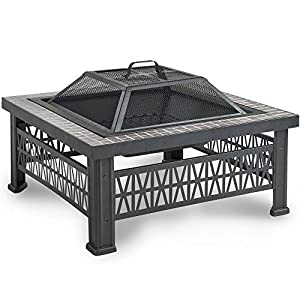 VonHaus Square Geo Fire Pit Bowl with Grey Tiled Edge, Spark Guard & Poker – Outdoor Black Steel Garden Patio Heater/Burner for Wood & Charcoal