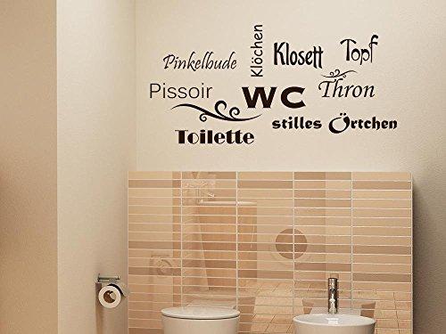andtattoo für Bad WC Sticker Silent Örtchen Dekoration, Mid-Grey, 83 x 40 cm (Badezimmer Dekoration Ideen)