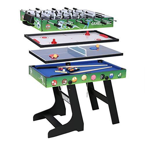 homelikesport 4 in 1 Spieltisch für Fußballspiel / Hockey / Tischtennis / Pool(Billard), ca.121.5*61*81.3CM