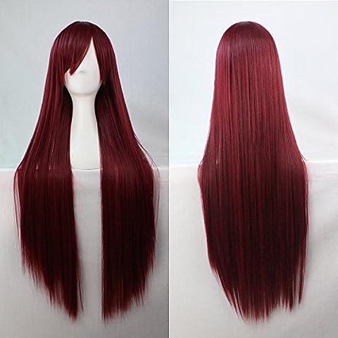 Mujeres Ladies Girls 80cm Borgoña color larga recta pelucas de alta calidad Carve pelo del partido de Cosplay del Anime del traje Bangs completa Sexy Pelucas