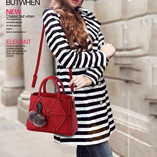 WU ZHI Damen PU Handtasche Umhängetasche Schultertasche Handtasche Wild Große Kapazität Weiches Leder Red