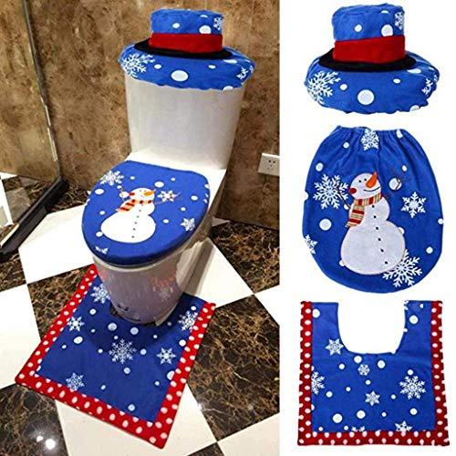 FABSELLER 3-teiliges Weihnachts-WC-Sitzbezug für Toilettendeckel, Deckel und Toilettenvorleger, Weihnachten, Zuhause, Badezimmer, Schneemänner, Weihnachtsmann, Weihnachtsmann Tree Branches Snowman