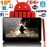 Tablette tactile 10 pouces Android 4.4 KitKat Quad Core 8 Go Rouge