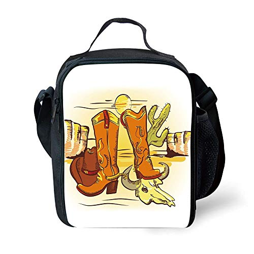 ZKHTO School Supplies Western,Artistic Composition with Cowboy Accessories Boots Hat Skull in Hot Desert,Orange Yellow Green for Girls or Boys Washable