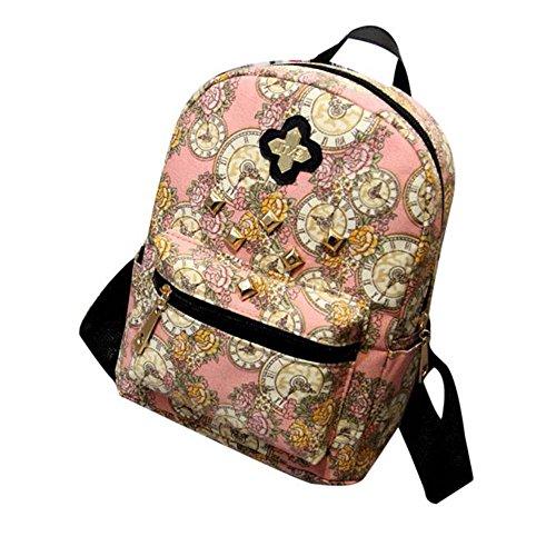 Longra Donna Floral Clock Double Back borse di tela Rosa