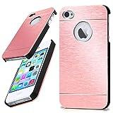 moex iPhone 4S | Hülle Dünn Rosé-Gold Aluminium Back-Cover Schutz Handytasche Ultra-Slim Handy-Hülle für iPhone 4/4S Case Metall Schutzhülle Alu Hard-Case
