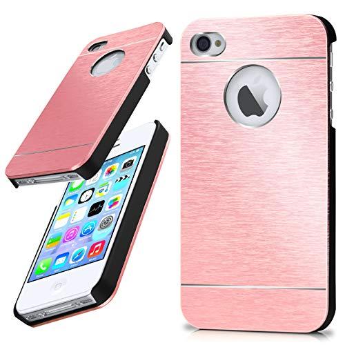 moex iPhone 4S | Hülle Dünn Rosé-Gold Aluminium Back-Cover Schutz Handytasche Ultra-Slim Handy-Hülle für iPhone 4/4S Case Metall Schutzhülle Alu Hard-Case Aluminium Hard Case