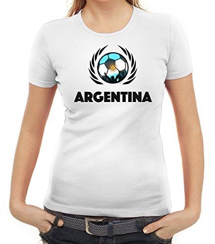 ShirtStreet Argentinia Soccer Fussball WM Fanfest Gruppen Fan Wappen Damen T-Shirt Fußball Argentinien Weiß