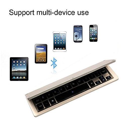 Famille Clavier Sans fil Bluetooth Ultra Doux Pliable pour Windows et Android et IOS (Or, Taille ouverte: 22.6x 13x 0.5cm)