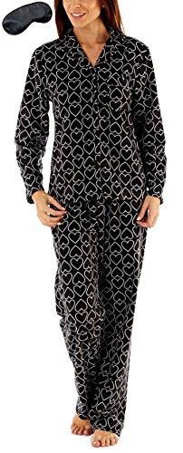 i-Smalls Damen Alles über Herz Poster Fleece-Pyjama mit schwarzer Augenmaske (38-40) Black (Pyjama-hosen Herz-fleece)