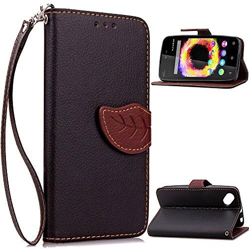 Banath Handy Hülle für Wiko Sunset 2 PU Leder Flip Wallet Cover Stand Case Card Slot Leder Karteneinschub Magnetverschluß Kratzfestes (Schwarz)