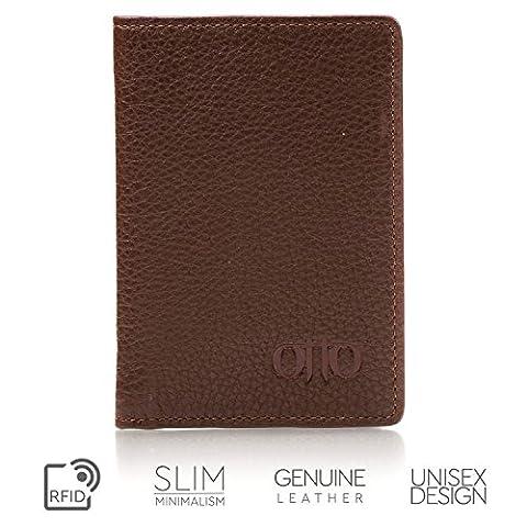Porte-monnaie en cuir OTTO Bifold - porte-passeport Style carte de crédit pour ID, et cartes de débit, et argent - pliable, léger et facile pour voyager (Marron foncé)
