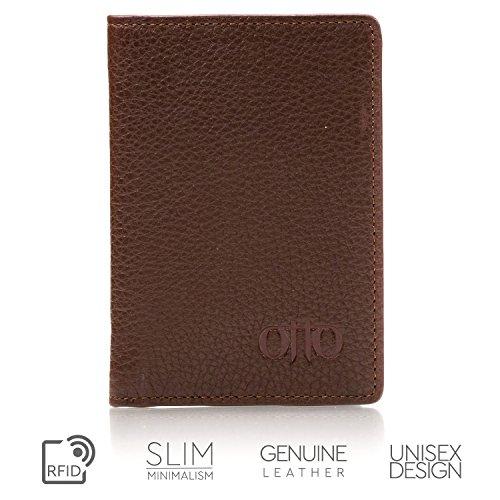 OTTO Bifold Lederbrieftasche - Reisepass-Stil Kreditkartenhalter für Ausweis, Bank und Lastschriftkarten, Geld - Faltbar, Leicht und Reisefreundlich - Männer und Frauen (Dunkelbraun) Dunkelbraun