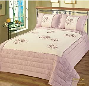 Designer Single Bed Luxury Modern Purple Lilac Floral Bedspread Set- Rebecca Embroided Embellished Quilted