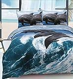 eirene threadz Ellephant & Cat & Unicorn Printed Polycotton Duvet Cover Sets Pillow Cases Bedding Sets (Single, Dolphin Wave)