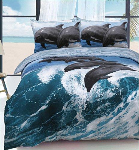eirene threadz Ellephant & Cat & Einhorn Gedruckt Polycotton Bettbezug Sets Kissen Betten Sets, Dolphin Wave, King Size