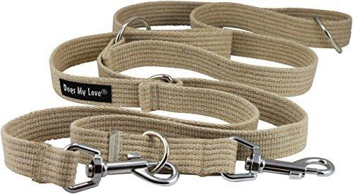 Dogs My Love 2,5cm Breit Baumwolle Web 6-Fach europäischen Multifunktionale Hundeleine, Verstellbare Führleine 114,3cm-78cm Lang, groß, Large, Beige Europäische Fach