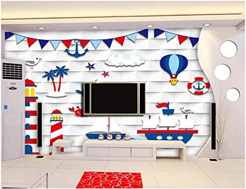 HONGYAUNZHANG Cartoon Mediterrane Landschaft Benutzerdefinierte Wandmalerei Foto Restaurant Wohnzimmer Kinderzimmer Hintergrund Wandbild Tapete,260Cm (H) X 340Cm (W)