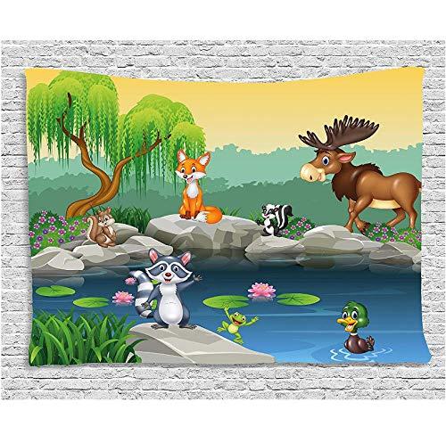 zhlxc Polyester Cartoon Dekor Tapisserie lustige Maskottchen Tiere der See Elch Fuchs Eichhörnchen Waschbär Kinder Kindergarten Thema Wandbehang für (Waschbär Maskottchen)