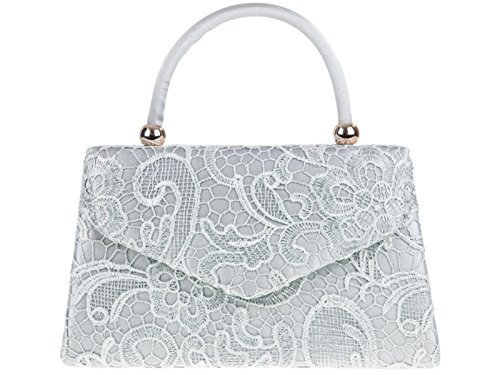 Fi9® BNWT-Borsa vintage da donna, con motivo floreale, ideale per matrimoni, feste, con scritta: Evening Handbag Purse-Borsetta a tracolla Multicolore (argento)