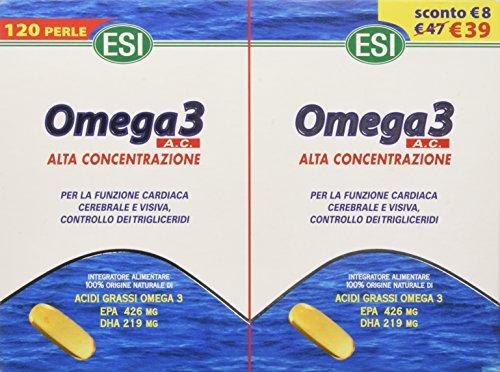 ESI Omega 3 Alta Concentrazione, Integratore Alimentare, 120 Perle