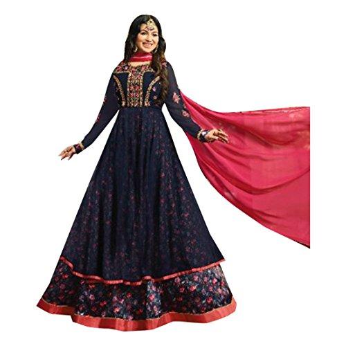 ETHNIC EMPORIUM Damen Blau Bollywood Georgette Braut Anarkali Shalwar Kameez Muslim Hochzeit Eid Festliche Rakhi Sammlung Klage-Kleid 2847 43483 Wie gezeigt -