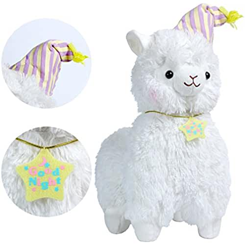 munecos dia madre kawaii KOSBON 14 Whtie Good Night Plush Alpaca, 100% Peluche Juguetes de muñeca de peluche, los mejores regalos de cumpleaños para los niños Niños (Nightcap)