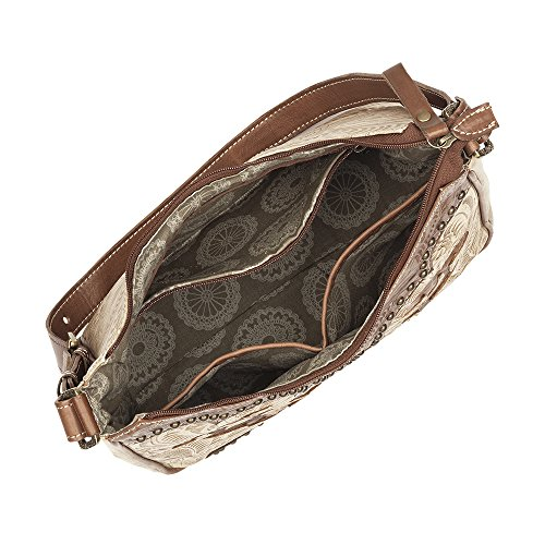 American West Annie's Secret Collection Shoulder bag with secret compartment Distressed Charcoal Brown/ Denim Blue