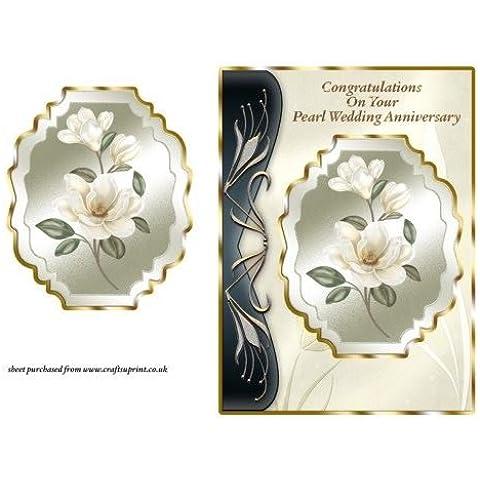 Magnolias de marfil del Nouveau del arte frente de la tarjeta - la perla de la boda por Lorna