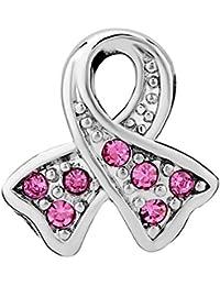 Dije concientización cáncer de mamas Uniqueen con diamantes de imitación Uniqueen, amuleto, brazalete Fit Pandora.