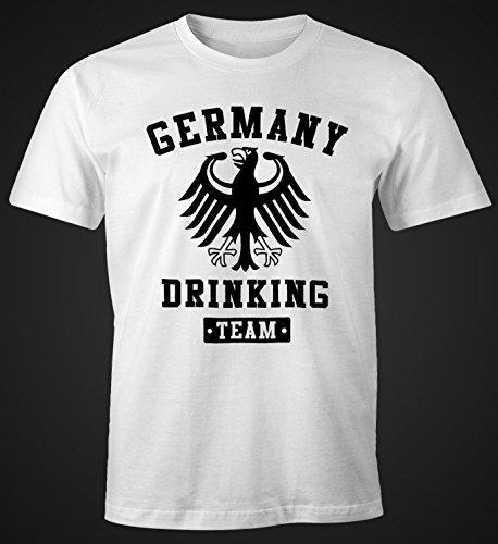 Deutschland Herren T-Shirt Germany Drinking Team Bier Adler Fun-Shirt Moonworks® Weiß