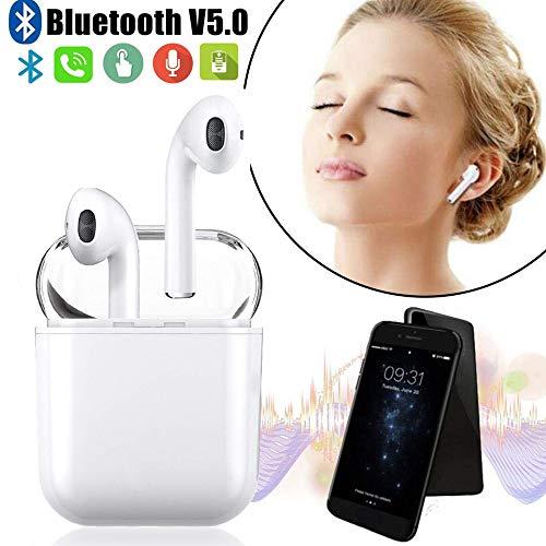 Bluetooth Headset, Kabellose Bluetooth Kopfhörer 5.0 In-Ear Ohrhörer Drahtlose Stereo Ohrhörer mit Integriertem Mikrofon Tragbarer Ladecase für Huawei LG Mi Nokia Samsung Galaxy iPhone
