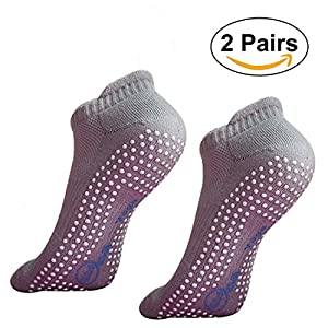 SANIQUEEN.G 2 Paar Antirutsch Socken Rutschfeste Skid Socken für Yoga, Pilates, Fitness,Barre und Tanz für Männer und Frauen-Größe EU 35-40
