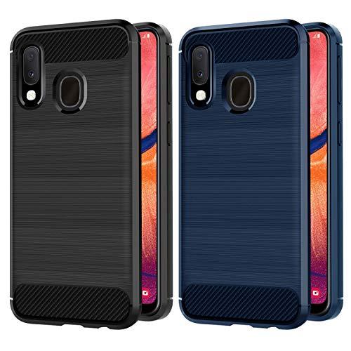 VGUARD [2 Stücke] Hülle für Samsung Galaxy A20 e / A20e, Carbon Faser Case Tasche Schutzhülle mit Stoßdämpfung Soft Flex TPU Silikon Handyhülle für Samsung Galaxy A20e - (Schwarz+Blau) Carbon Tasche