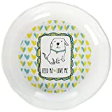 """Pavilion Gift Company It's Cats & Dogs-""""Feed Me Love Me"""" Shallow 2"""" Tall Ceramic Dog Food and Water Dish, Yellow"""
