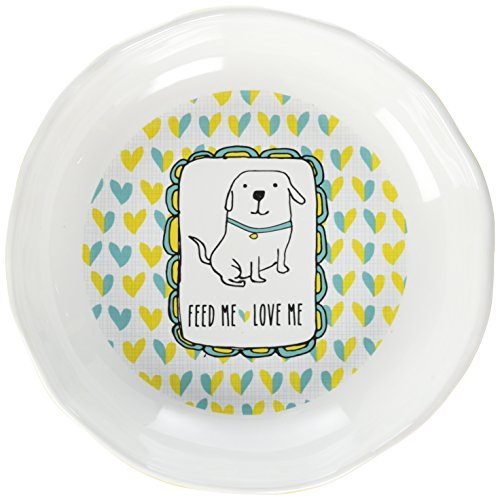 "Pavilion Gift Company It's Cats & Dogs-""Feed Me Love Me"" Shallow 2"" Tall Ceramic Dog Food and Water Dish, Yellow"