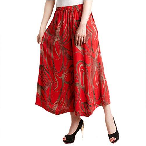 Damen Slinky (NJunicorn Uncle Damen Bequem Elastische Taille Baumwolle&Leinen Hosenrock Weite Bein Blumenmuster Lange Hose Pumphose Schlabberhose (Art 9,XL))