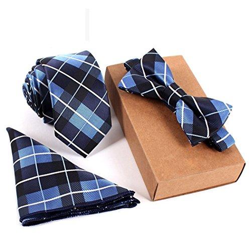 SKNSM hidalgo Conjunto de corbata a cuadros escoceses de tartán negro y azul para hombres Conjunto de corbata pajarita de tartán con fecha de citas para conjuntos de Tie